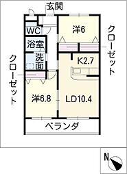 ベルデ東栄2[3階]の間取り