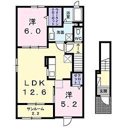 クラッキスA[2階]の間取り