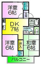 大阪府堺市西区浜寺諏訪森町西1丁の賃貸アパートの間取り