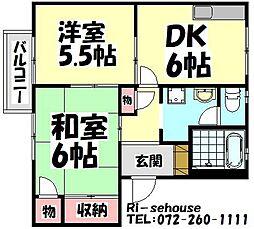 大阪府高石市千代田3丁目の賃貸アパートの間取り