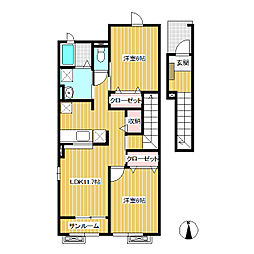 JR飯山線 飯山駅 バス12分 木島下車 徒歩6分の賃貸アパート 2階2LDKの間取り