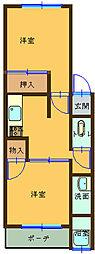 狐島興里アパート[6号室]の間取り