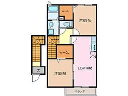 三重県伊勢市一色町の賃貸アパートの間取り