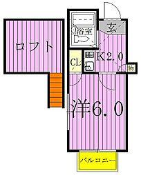 千葉県柏市中新宿2丁目の賃貸アパートの間取り