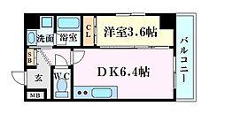 アンフィニXV江坂レジデンス 5階1DKの間取り