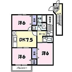 兵庫県西宮市山口町下山口4丁目の賃貸アパートの間取り
