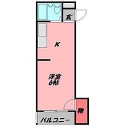 八雲東グリーンハイツ 3階ワンルームの間取り