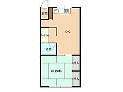 チャティハウス 2階1DKの間取り
