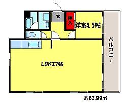 福岡県福岡市中央区草香江1丁目の賃貸マンションの間取り