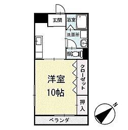 ワンルームしあわせ 1階[102号室]の間取り