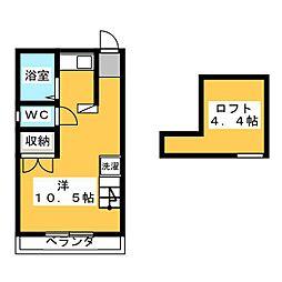サンパル東伏見 2階ワンルームの間取り
