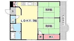 セントラルハイツ本山[3F号室]の間取り