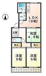 愛知県稲沢市長野1丁目の賃貸マンションの間取り