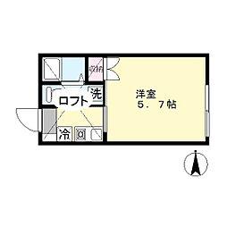 パンテール生田[202号室]の間取り
