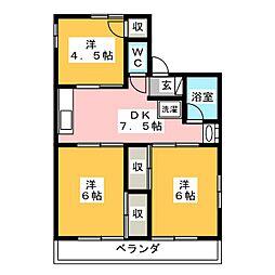セゾンハイムA[2階]の間取り