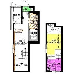 名鉄瀬戸線 矢田駅 徒歩3分の賃貸アパート 1階1SLDKの間取り