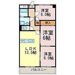 愛知県半田市北二ツ坂町2丁目の賃貸マンションの間取り