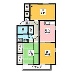 ハイムグランシャリオ内山 A棟[2階]の間取り