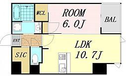 S-RESIDENCE西天満GrandJour 8階1LDKの間取り