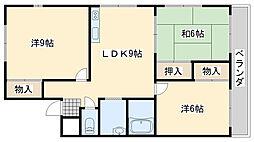 大阪府阪南市和泉鳥取の賃貸マンションの間取り