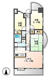 サンハウス撞木町[3階]の間取り