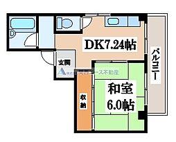 カキヤハイツ[4階]の間取り