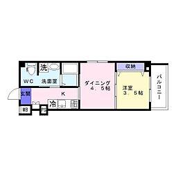 沢之町マンション[502号室]の間取り