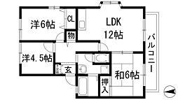 大阪府箕面市新稲6丁目の賃貸マンションの間取り