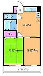 三ツ木コーポ富士見台[2階]の間取り