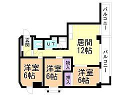 アクティブプラザ上野幌 4階3LDKの間取り