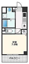 カーサ・ロイヤル吹田1番館 4階1Kの間取り