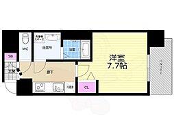 Osaka Metro長堀鶴見緑地線 谷町六丁目駅 徒歩5分の賃貸マンション 2階1Kの間取り