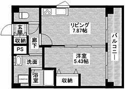 兵庫県西宮市東町1丁目の賃貸マンションの間取り