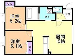 タウンハウス西野参番館 2階2LDKの間取り