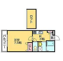 ドミールジャルダンB[1階]の間取り