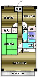 クレセール和泉[4階]の間取り