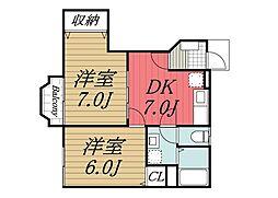千葉県香取市玉造の賃貸アパートの間取り