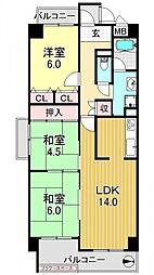 ロードハイムYK[402号室号室]の間取り