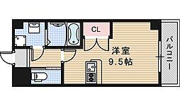 近鉄南大阪線 北田辺駅 徒歩4分の賃貸マンション 2階1Kの間取り