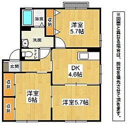 福岡県北九州市小倉南区徳吉東5丁目の賃貸アパートの間取り