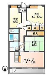 岐阜県可児市中恵土の賃貸マンションの間取り