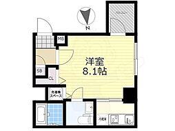 東武亀戸線 亀戸水神駅 徒歩9分の賃貸マンション 7階1Kの間取り