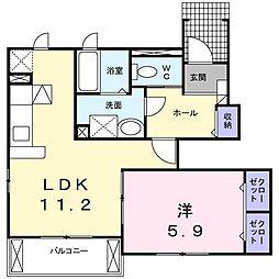 東京都日野市神明4丁目の賃貸アパートの間取り
