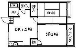 サニーコート泉佐野B棟[2階]の間取り