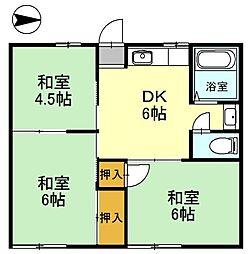 ファミールコーポ高屋 6棟[1階]の間取り