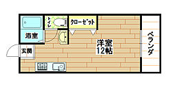 福岡県北九州市八幡西区藤原2丁目の賃貸マンションの間取り