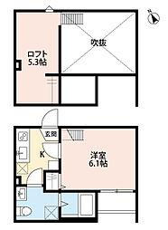 JR東北本線 東大宮駅 徒歩10分の賃貸アパート 1階1Kの間取り