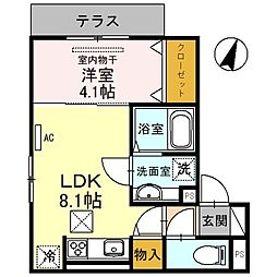 阪神本線 新在家駅 徒歩5分の賃貸アパート 1階1LDKの間取り