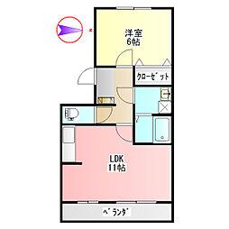 サンDeセジュール[1階]の間取り