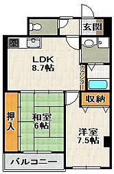 アセオマンション[204号室]の間取り